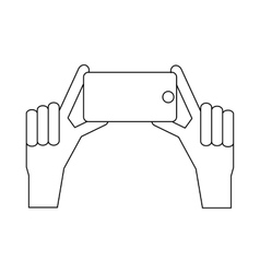 Hands taking pictures on phones icon vector