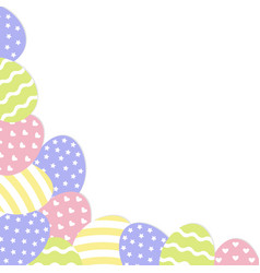 Happy easter painted egg corner frame painting vector