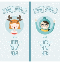 happy new year card with kids vector image