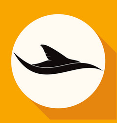 Icon shark on white circle with a long shadow vector