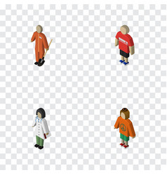 Isometric person set of lady guy doctor and vector