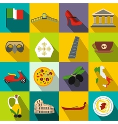 Italy flat icons vector
