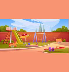 Kids playground in summer park or kindergarten vector