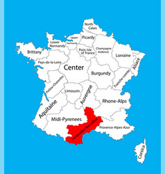 languedoc roussillon map france map vector image