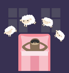 lazy sloth in sleeping mask jumping sheeps cant vector image
