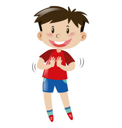 Little boy in red shirt and blue shorts vector