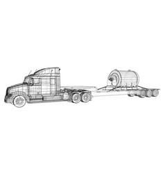 Low bed truck trailer wire-frame cargo vehicle vector