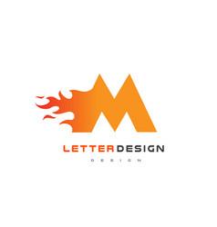 m letter flame logo design fire logo lettering vector image