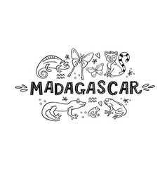 madagscar hand written word with doodle animals of vector image