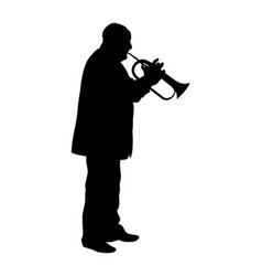 Man with trumpet on stage silhouette isolated vector
