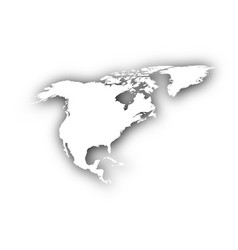 map of north america with shadow vector image
