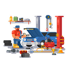 mechanic worker repairs car in garage vector image