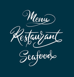 Menu restaurant typography vector