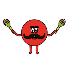 Mexican emoji with maracas character vector