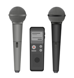 Microphone and dictaphone flat icons vector image vector image