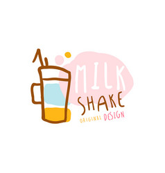 Milk shake logo original design element vector