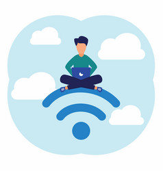 Modern free public wireless connection wi-fi vector