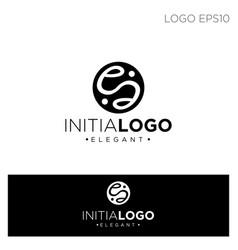 monogram initial e logo template black color vector image
