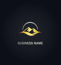 mountain nature gold logo vector image
