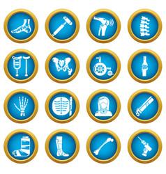 Orthopedist bone tools icons set simple style vector
