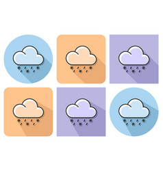 outlined icon of rain with snow with parallel and vector image