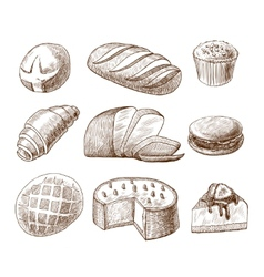 Pastry and bread decorative icons set vector image