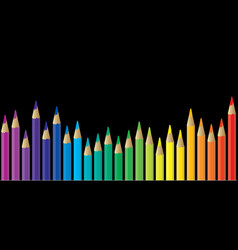 Pencils rainbow color cartoon ball pen icon vector