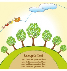 planet trees background vector image