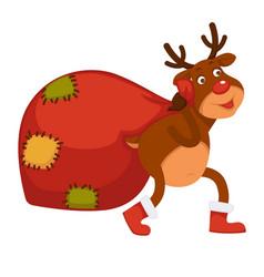 Polar deer carries huge bag with christmas vector