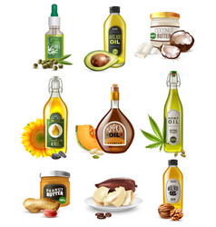 realistic vegetable oils set vector image