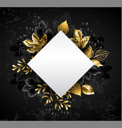 rhombus with golden leaves vector image