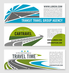 road travel company banners set vector image