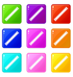 ruler icons 9 set vector image
