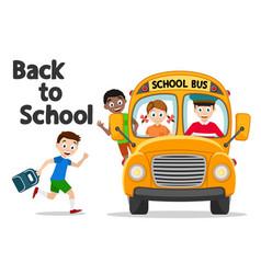 School bus picks up schoolchild on a white back vector