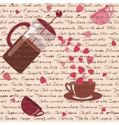Seamless pattern with coffee and hearts vector image vector image