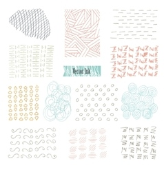 Set of hand drawn marker and ink patterns Simple vector image