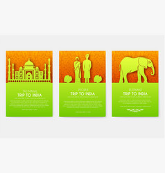 set of india country ornament travel tour concept vector image