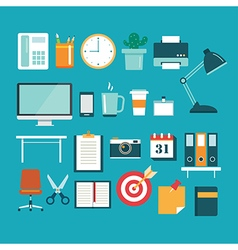 set of office equipment icon flat design vector image