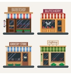 Set of shops Butchery candy store farm products vector