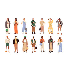 Set stylish people in fashion casual outfits vector