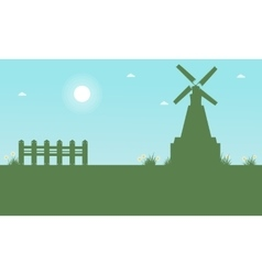 Silhouette of windmill beauty landscape at spring vector