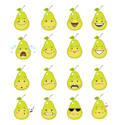Sixteen pear emojis vector