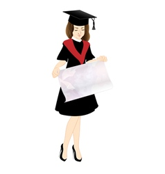 Student in Cap and Gown with a poster vector