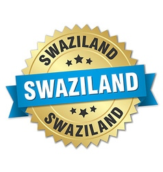 Swaziland round golden badge with blue ribbon vector image