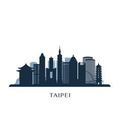 Taipei skyline monochrome silhouette vector