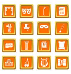 Theater icons set orange vector