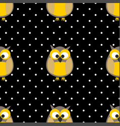 tile pattern with owls and dots on black backgroun vector image