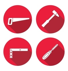 Tool icons set Saw hammer chisel angle Repair vector