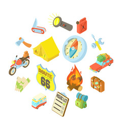 travel icons set isometric style vector image