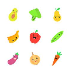 vegetables and fruits cute kawaii flat design vector image